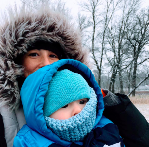 mother and son winter outdoors